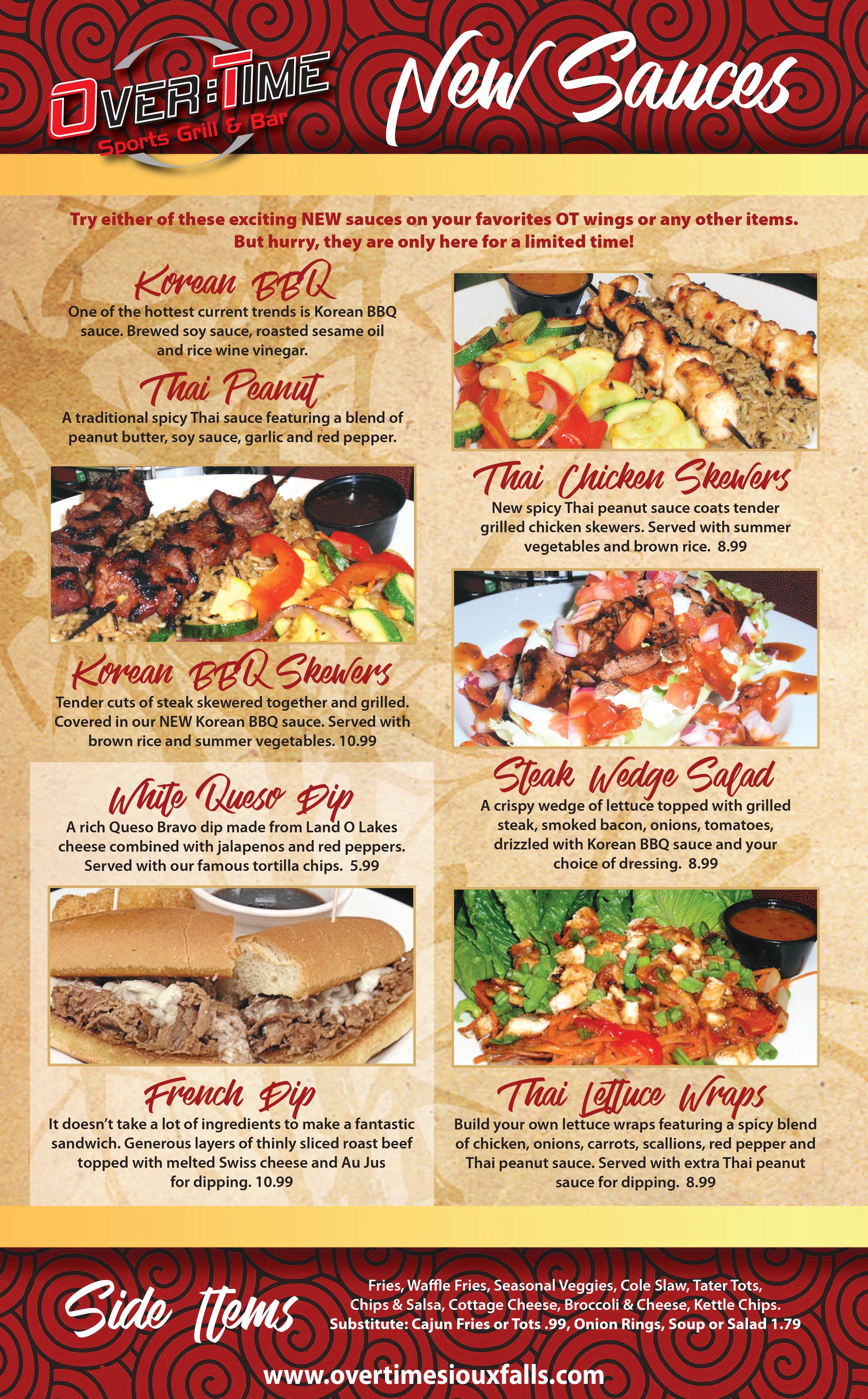 Featured Menu   Over Time Sports Grill & Bar